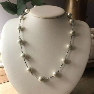 Ralph Lauren Silver Tone & Pearl Necklace